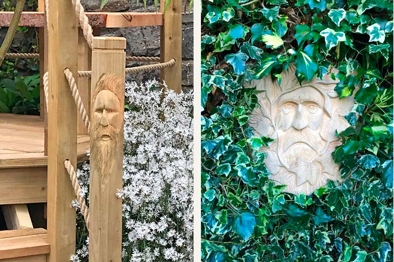 Bespoke wood-spirit and green-man carvings designed for Forest Wild Treehouses.