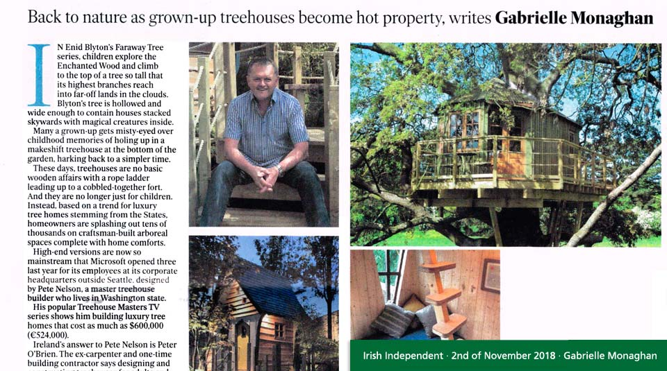Forest Wild Treehouses in the Irish Independent